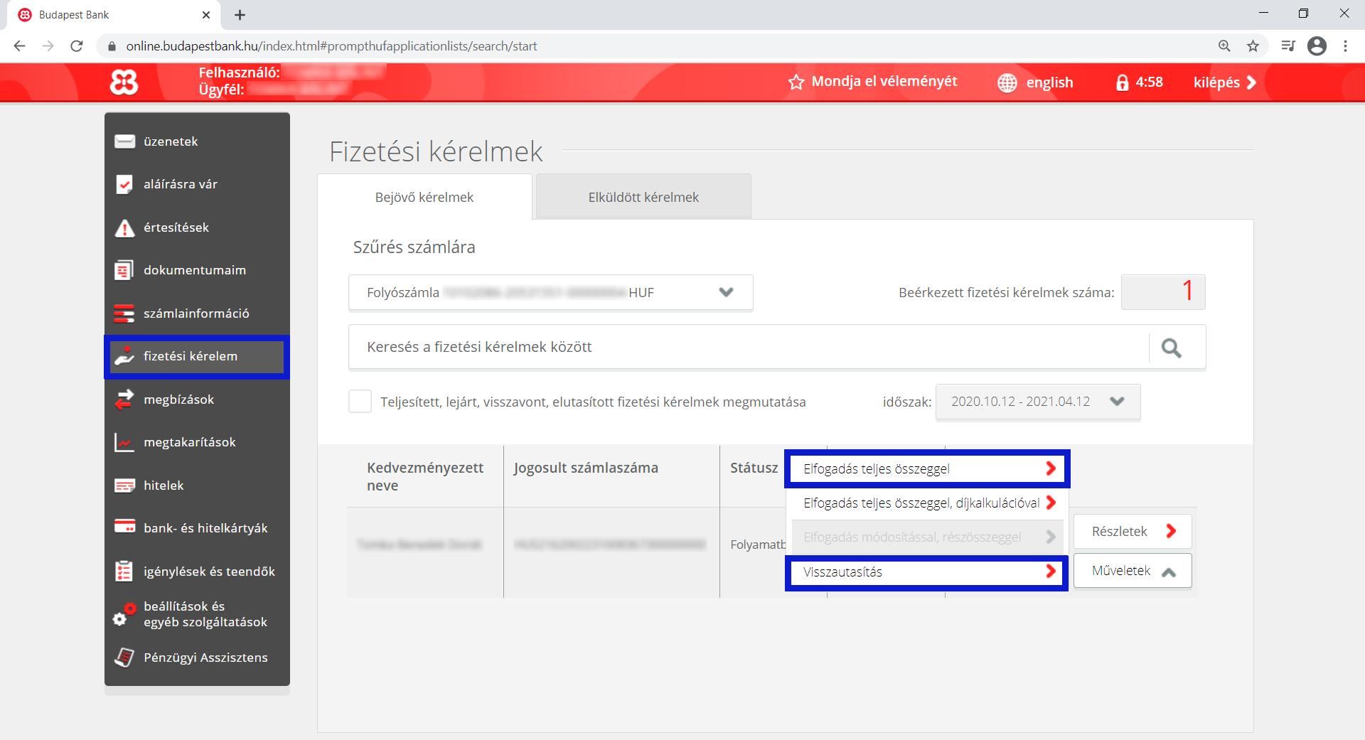 Budapest Bank netbank fizetési kérelem listája